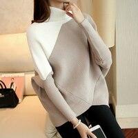 AI Yi Han 2016 new winter long sleeved turtleneck Korean loose bat color code BianFuShan knitted sweater