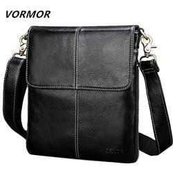 VORMOR Leather Men Bag Fashion Leather Crossbody Bag Shoulder Men Messenger Bags Small Casual Designer Handbags Man Bags