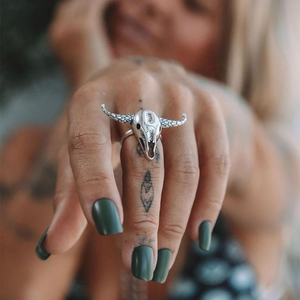 Hot Women Men Open Finger Ring Vintage Punk Personality Carved Silver Cow Head Skull Bohemian Jewelry Gift