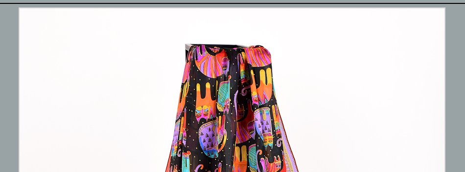 Long Colorful Cat Design 100% Silk Scarf