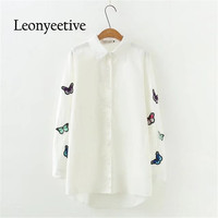 Leonyeetive New 2017 Spring Summer Women Big Size Shirt Cotton White Blouses Style Plus Size Full