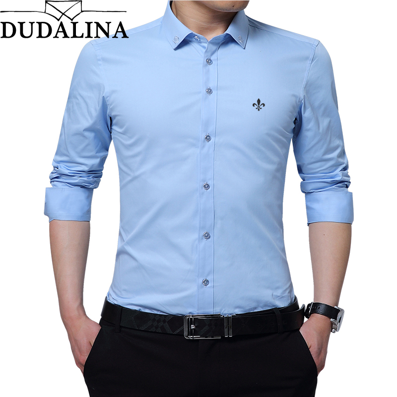 DUDALINA Embroidery Men Clothes Solid Slim Fit Men Long Sleeve Shirt Casual Men Social Shirt 60% Polyester Fiber 40% Cotton