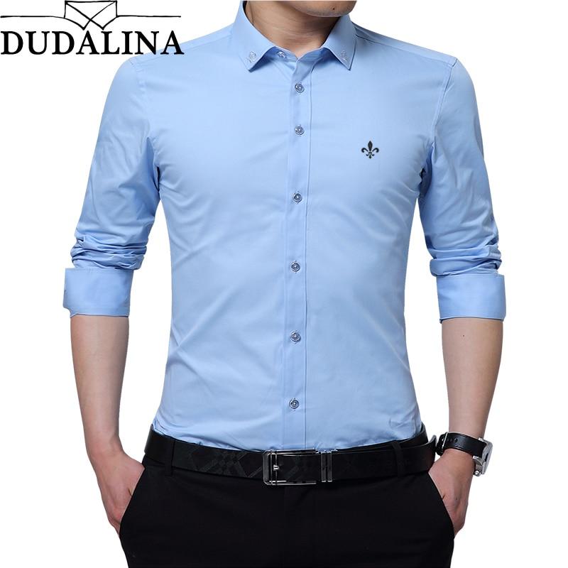 DUDALINA Embroidery Men Clothes Solid Slim Fit Men Long Sleeve Shirt Casual Men Social Shirt 60% Polyester Fiber 40% Cotton