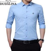 DUDALINA Embroidery Men Clothes Solid Slim Fit Men Long Sleeve Shirt Casual Men