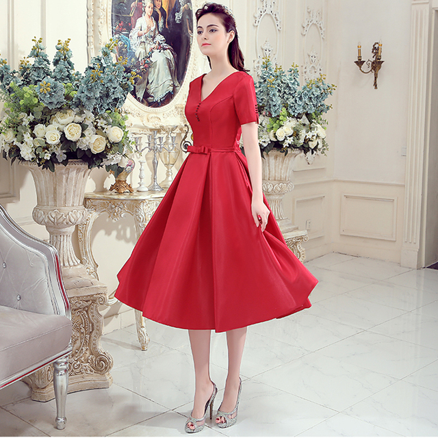 Red Satin V Neck Short Sleeve Cheap Evening Dresses Elegant Formal Bride Prom Party Gowns