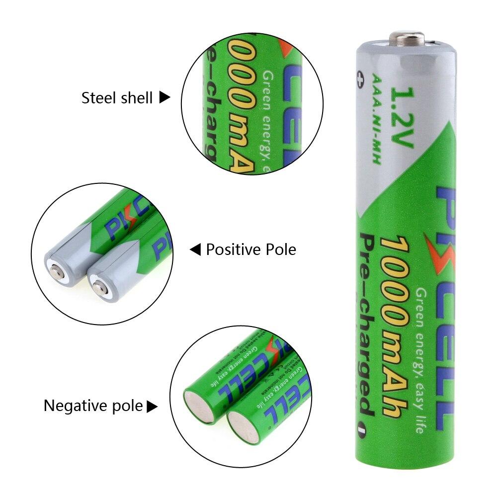 Baterias Recarregáveis 4 pcs pkcell 1.2 v Capacidade Nominal : 1000mah