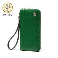 Pmsix Pleated Split Leather Clutch Wallet Zipper Long Brand Cell Phone Women Wallet Green Designer Wristlet