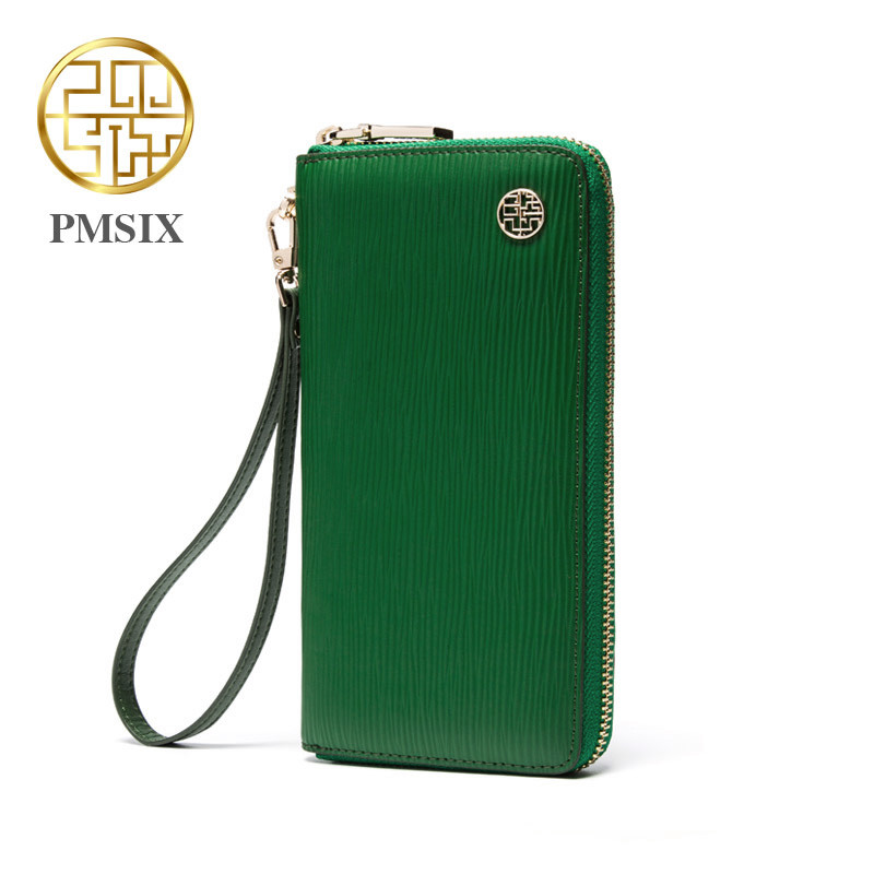 Pmsix New Fashion Split Leather Clutch Wallet Zipper Long Brand Cell Phone Women Wallet Green Designer Wristlet Wallet 420002 цена