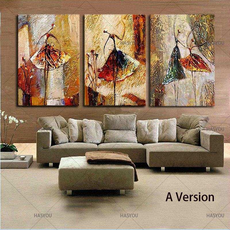 Ballet Dancing Girls Modern 3 Panels 100 Hand Painted Oil Paintings on Canvas Wall Art Work