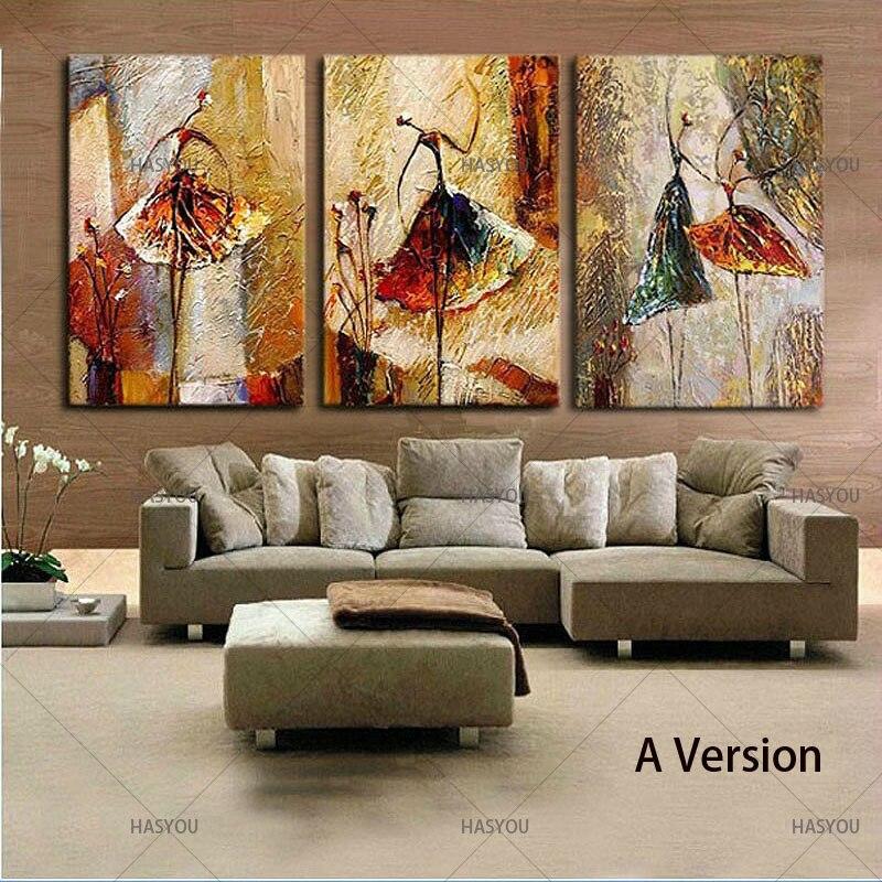 الباليه الرقص الفتيات الحديثة 3 لوحات 100% اليد رسمت النفط اللوحات على قماش جدار الفن العمل لغرفة المعيشة المنزل زينة-في الرسم والخط من المنزل والحديقة على  مجموعة 1