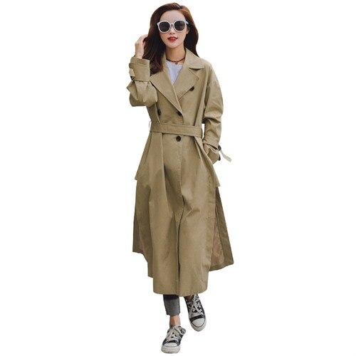 2018 Hiver Nouvelle uni Simple automne Classique Femelle Femme Coupe vent Automne Femmes Ceinture Manteau Royaume Tranchée Casual Avec Mode Long wHt5qdF1