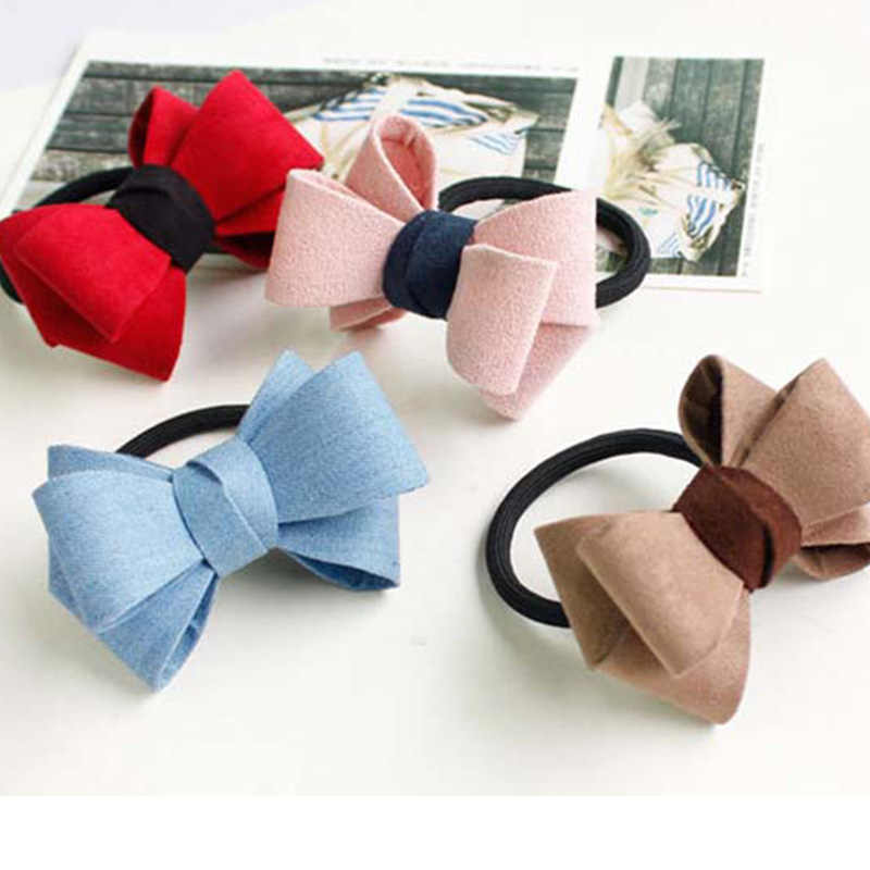 Wholesale Kids Bowknot Hair Ring Kawaii Rubber Band Elastic Headband Solid Color