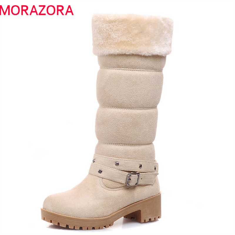 MORAZORA 2018 new arrival mid calf boots women slip on round toe winter snow boots warm flock platform boots square heels shoes