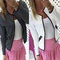 CELMIA 2017 Mulheres Da Moda Casaco Curto Jaqueta Casual Manga Longa Cardigan Bolsos Com Zíper Fino Outerwear Terno Plus Size Blusas