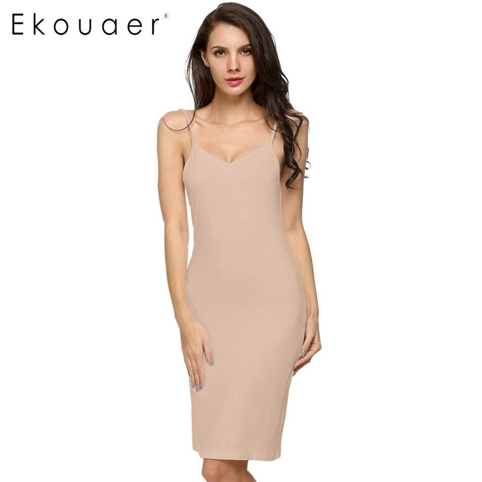 Ekouaer גבירותיי נשים מקרית סקסי רצועת להחליק שרוולים V-צוואר מוצק בית השפל ישר שמלת גודל S-2XL שמלות Vestidos