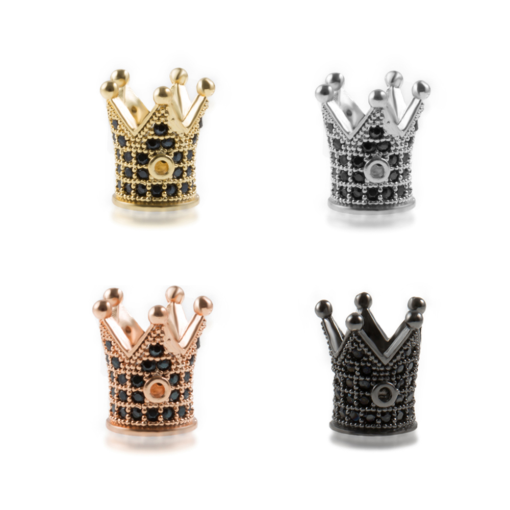Wholesale Luxury Micro Pave Cubic Zirconia Crown Beads For Men Bracelet Making Jewelry Charm Rose Gold Color Brass Spacer Bead Jewelry & Accessories