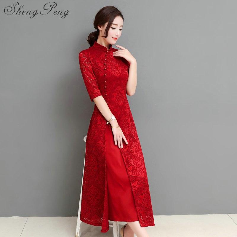 2018 summer qipao cheongsam modern chinese traditional wedding dress women vestido oriental collars sexy long qi