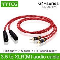 YYTCG-Conector estéreo de alta calidad, 3,5mm a XLR macho, Cable de Audio de 3 pines para iphone, mezclador de CD, consola mezcladora, amplificador de micrófono