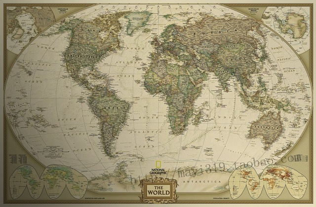 Large Vintage World Map Home Decoration Detailed Antique Poster - Large world map antique