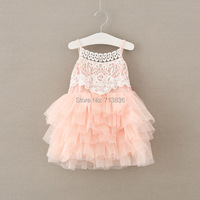 Eleven Story Lace Ball Grown Tulle Suspender Dresses Baby Girls Clothing Holiday Party Sling Wear