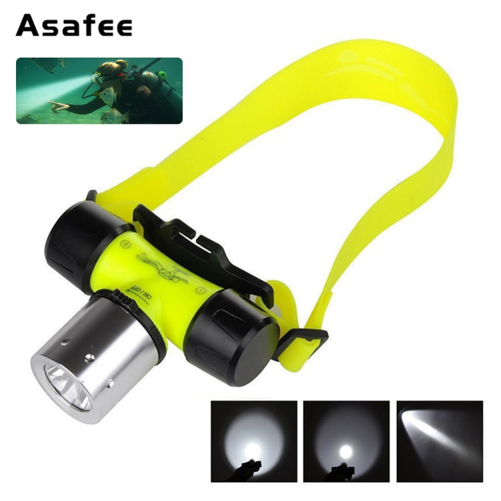 Asafee 50 M 5000LM XML T6 LED Underwater Head Light Waterproof Diving Headlight Senter Torch untuk Malam Menyelam