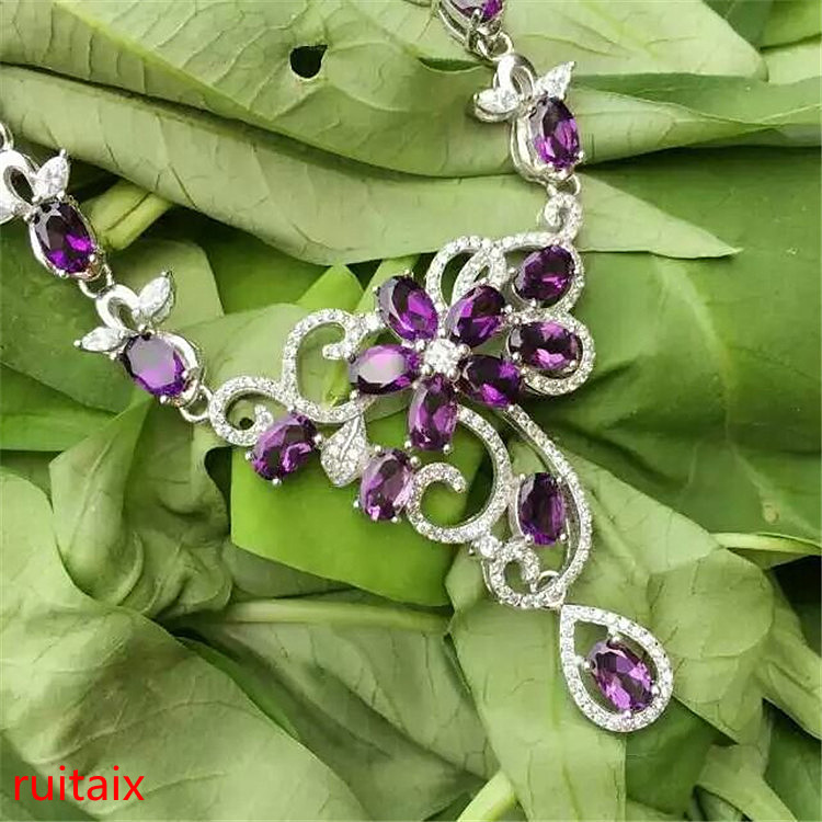 KJJEAXCMY fine jewelry 925 sterling silver inlaid with natural water drop amethyst necklace set chain. nm water drop rhinestone chain bracelet with toe ring