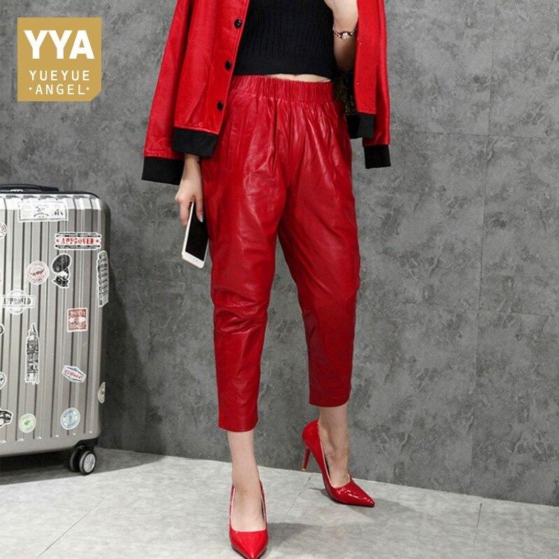 Rouge en peau de Mouton En Cuir Véritable Femmes Bureau Coréen sarouel Streetwear décontracté Lâche Mi Taille Pantalon Pantalones Grand Pantalon XXXL