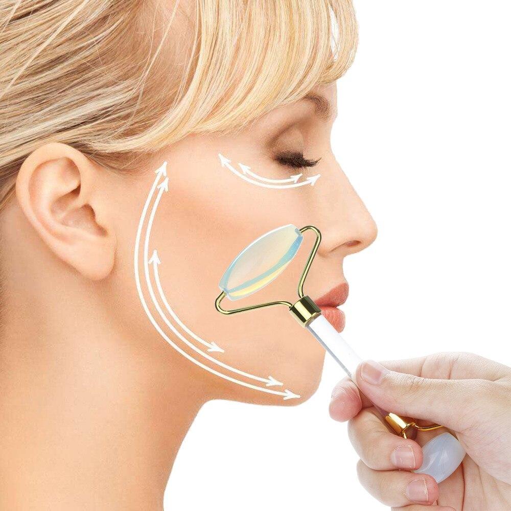 Natural Jade Guasha Facial Massage Jade Roller Face Body Massager Beauty Tool Face Massager Jade Face Roller Drop Shipping chain