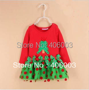 Wholesale Kids Baby Christmas Dress Child Short-Sleeve Clothing  Red Green with Polka Dot Tutu Dresses Free Shipping