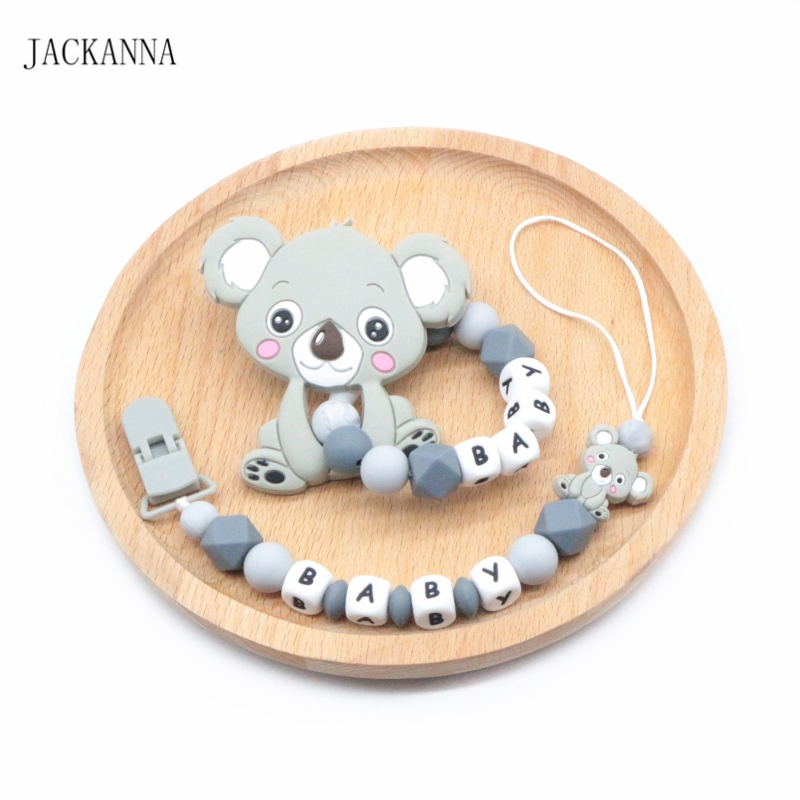 Personalise Koala Baby Pacifier Clips Holder Chain Baby Rattle Dummy Clips Teething Toy Set Newborn Shower Gifts BPA FREE