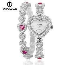 VINOCE Bracelet Watches Women 2017 Top Brand Luxury Crystal Diamond Heart Watch Ladies Wristwatch 2017 Relogio Feminino #633248