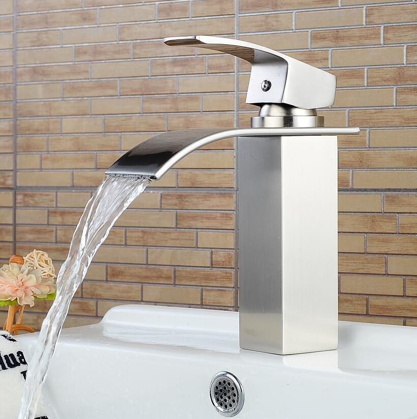 Bar Sink Faucets Basin Faucets Waterfall Faucet Single Handle Basin Hot and Cold Mixer Tap Bathroom Faucet Sink Nickel Finish flg basin faucets modern orb bathroom faucet waterfall faucets single hole cold and hot water tap basin faucet mixer taps