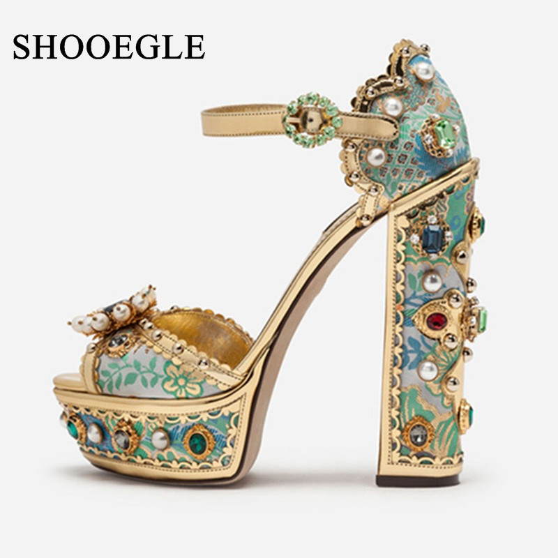 Luxury Designer Shoes Women Colorful Jewelry Jacquard Embroidery Platform Sandals Cover Heel Crystal Buckle Strap 14