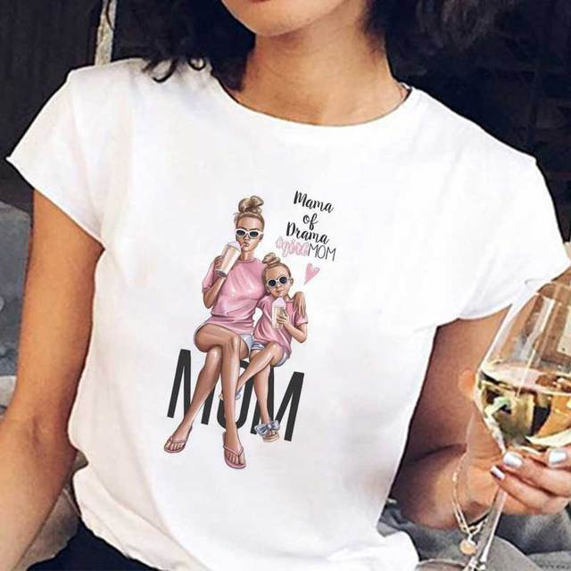 New Arrival 2019 T Shirt Vogue Tee Shirt Korean Fashion Clothing Harajuku Kawaii White Tshirt Super Mom Female T-shirt Mother's