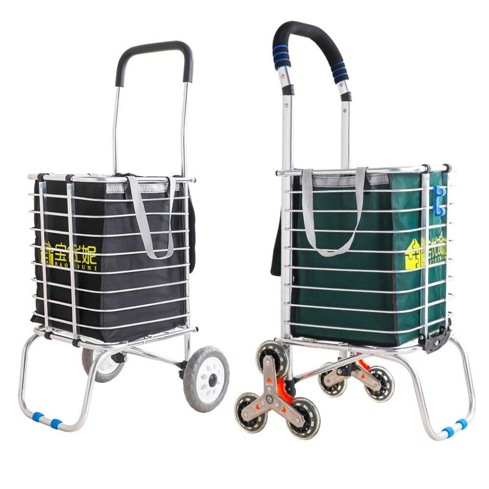 Personnes âgées chariot d'expédition chariot escalier escalade panier d'épicerie panier avec roues Portable vieil homme tirer tige supermarché chariot DQ9153-2