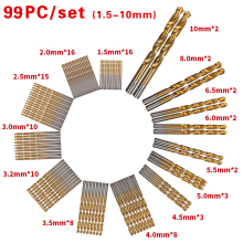 99pcs/Set Titanium Coated HSS High Speed Steel Drill Bit Set Tool 1.5mm - 10mm Twist  Drill Bits 99 pcs manual 1 5mm 10mm twist drill bits gold titanium coated brocas high speed steel drill for metalworking drilling tools