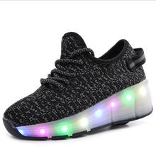 New 2017 Breathable Child Junior Girls Boys LED Light Roller Skate Shoes For Children Kids Fashion