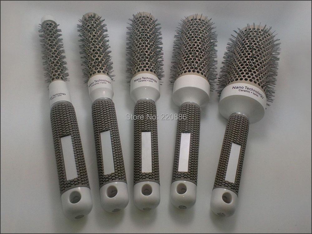 Apvalus plaukų šepetys Profesionalus keraminis plaukų šepetys Plastikinis plaukų šepetėlių rinkinys GIC-HB504 (5vnt / lot) Nemokamas pristatymas