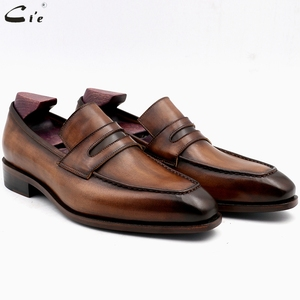 Image 1 - cie square toe patina hand painted calf leather bespoke leather men shoe handmade calf leather breathable mens boat loafer LO05