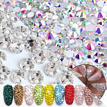 SS3~SS30 1440pcs Rhinestones Clear Crystal AB Glass 3D Flatback rhinestone strass white Color Diamond Drill for Nail Art Deco