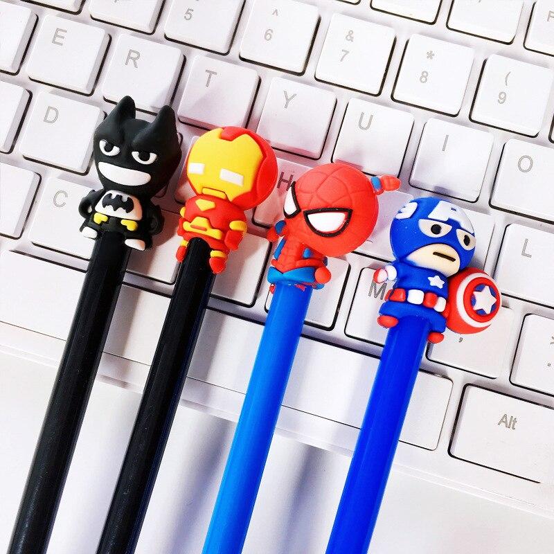 4 Pcs/lot Cartoon Hero Series Gel Pen Cute 0.5mm Black Ink Signature Pen Escolar School Office Writing Supplies