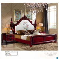 modern european solid wood bed Fashion Carved 1.8 m bed french bedroom furniture American style bed LLS828