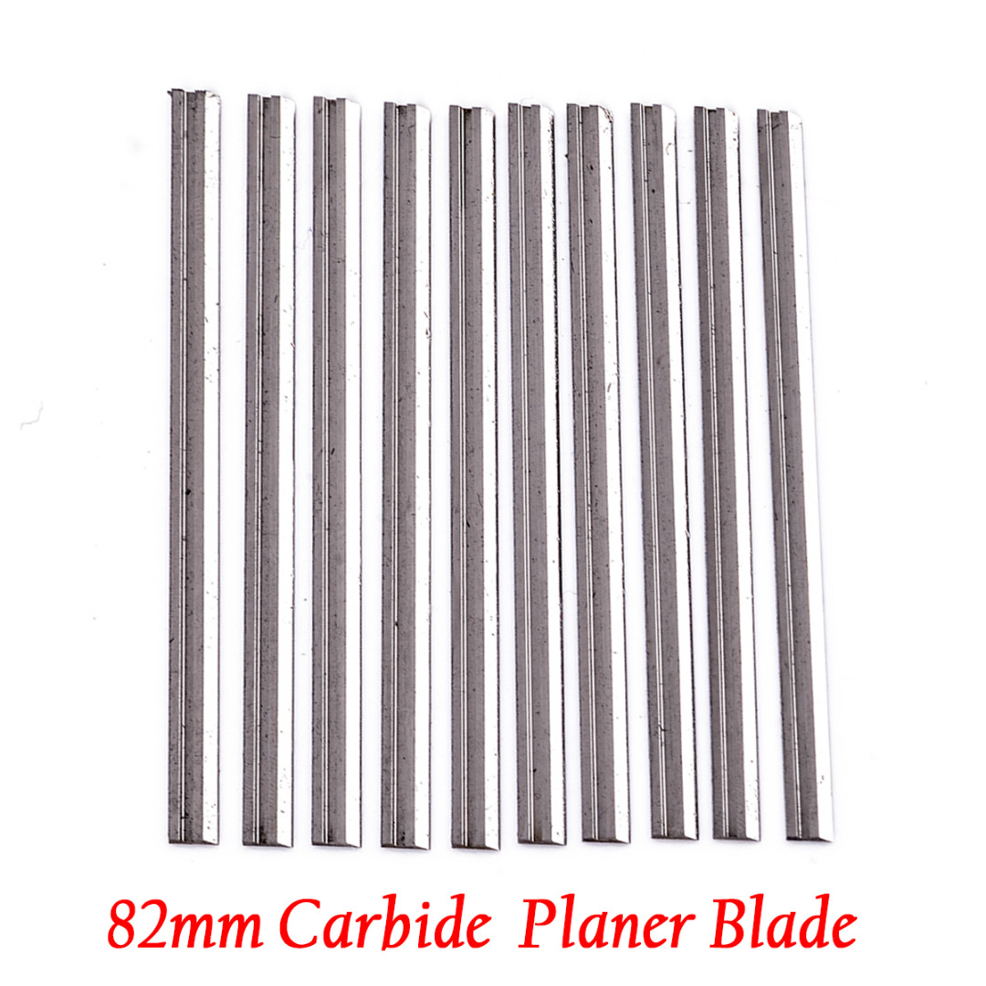 10Pcs Reversible Carbide Planer Double-edged Blades 82mm X 5.5mm For Soft Hard Woods Cutting Power Tool Parts