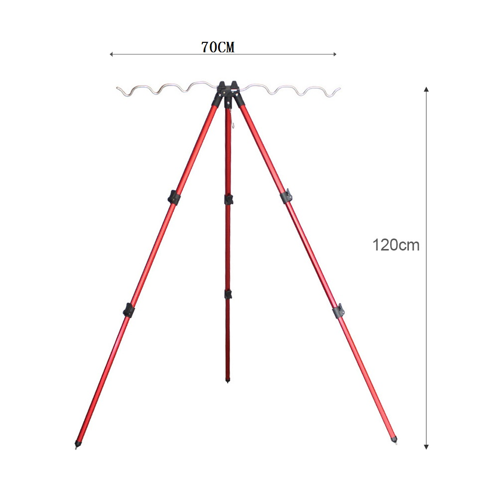 Image 4 - Aluminum Alloy Telescopic 5 / 7 Groove Fishing Rods Holder Collapsible Tripod Stand Sea Fishing Pole Bracket-in Fishing Tools from Sports & Entertainment