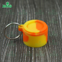Novelty Keychain wax dab oil seed storage container food grade silicone 6ml non-stick no leakage 100pcs free shipping