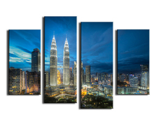 Hottest Product 4 Panels Modern City Print Oil Painting On Canvas Waterproof Ink Landscape Wall Art Picture Home Decoration