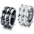 Gurantee 100% Titanium Steel White/Black Ceramic Wedding Rings Brand Fashion Jewelry  RG006