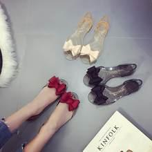 5e9e9ede833ba6 Summer New Women Bow Flower Jelly Beach Casual Sandals Flip Flops Flat Shoes  Fashion Clear Sandals