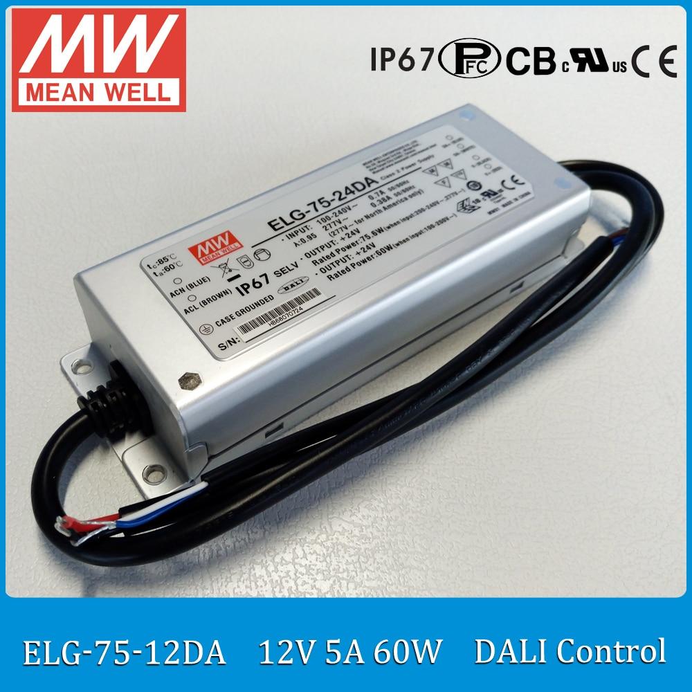 цена на Original MEAN WELL ELG-75-12DA 60W 5A 12V LED driver ELG-75 IP67 DALI control meanwell LED driver 12V