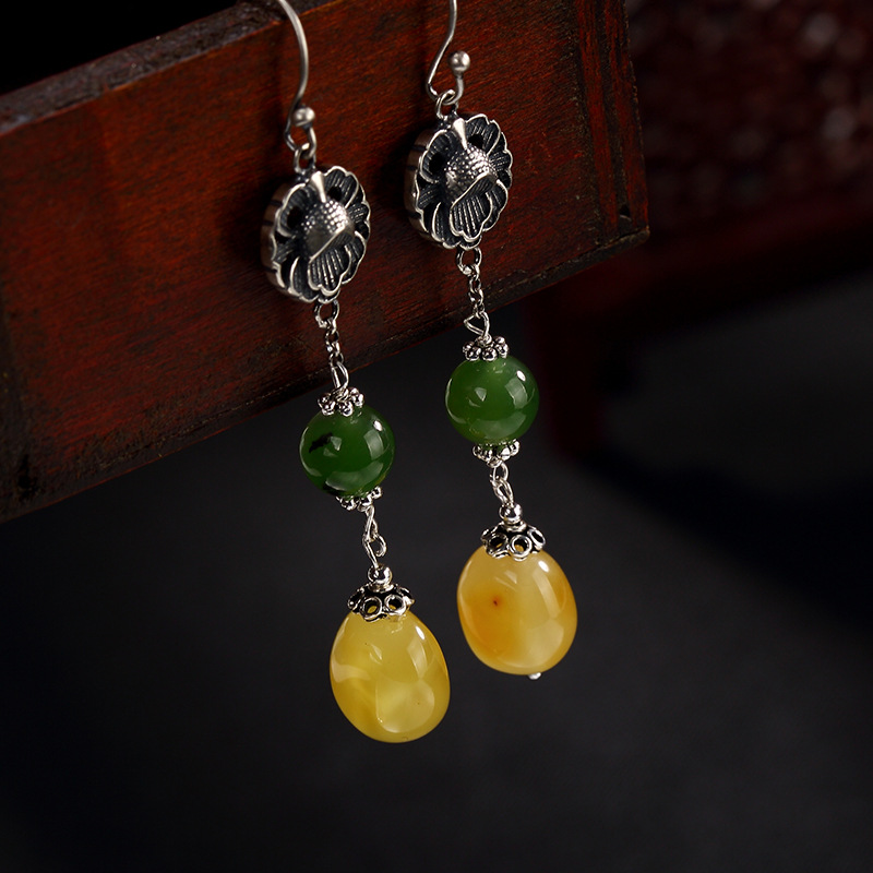 New Fashion Silver S925 Pure Silver Natural Hetian Jade Jade Bead Beeswax Mosaic Peony Lady Eardrop Earrings Wholesale s925 pure silver personality female models new beeswax